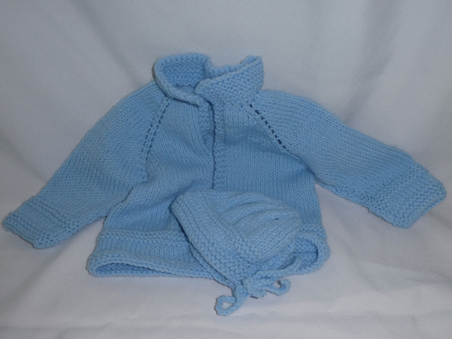 Hand Knitted Blue Infant Sweater and Hat