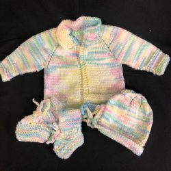 Infant Sweater, Hat, and Booties
