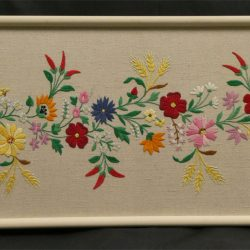 Hand Embroidered Framed Floral Wall Hanging