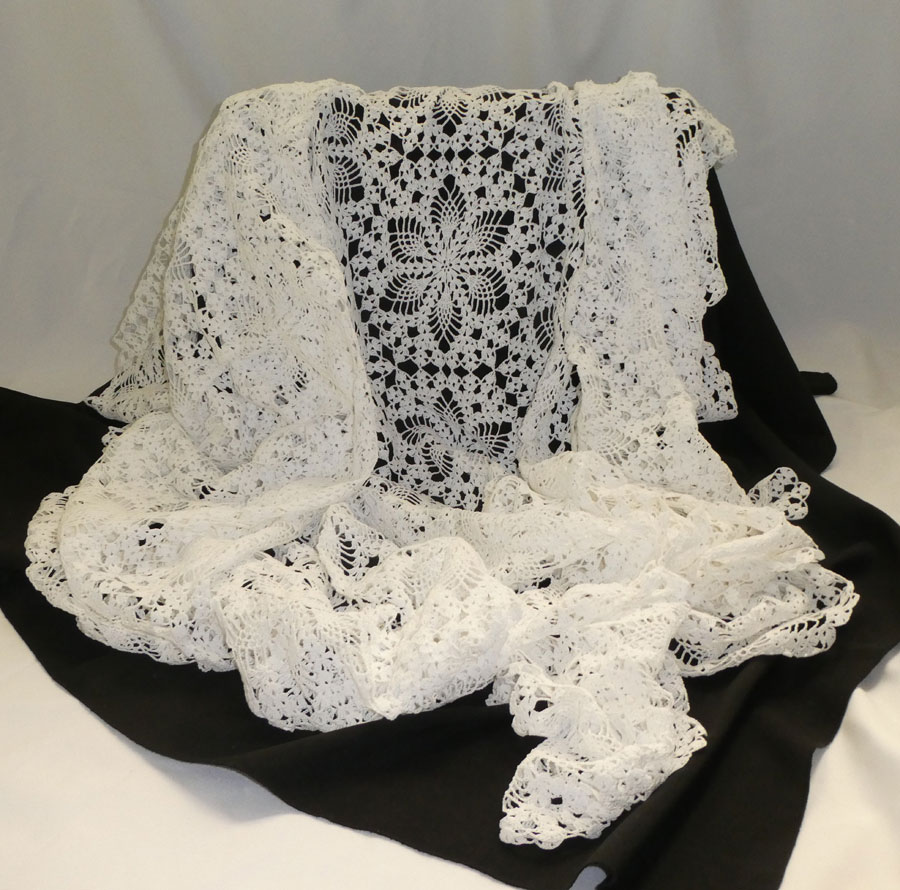 Beautiful Hand Crocheted White Oval Table Cloth