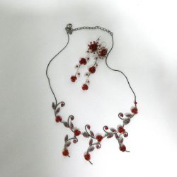 Scarlet Necklace and Drop Earrings